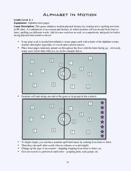 PE Game Sheet: Alphabet In Motion