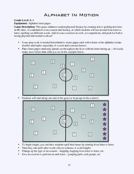 PE Game Sheet: Alphabet In Motion