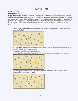 PE Game Sheet: Catch-5