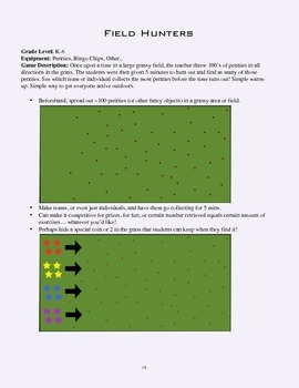 PE Game Sheet: Field Hunters