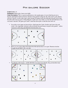 PE Game Sheet: Pin Galore Soccer