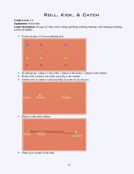 PE Game Sheet: Roll, Kick, Catch