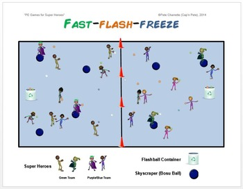 "PE Games for Superheroes!- ""Fast-Flash-Freeze"""
