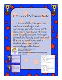 PE Good Behavior Note
