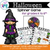 PE Halloween Movement Spinner Game- Great for Warm Ups, Brain Breaks & Parties