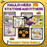 PE Halloween Stations and Fitness- 6 Product Super Bundle