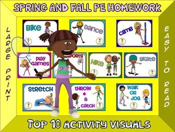 PE Homework (Spring/Fall)- Top 10 Activity Visuals- Simple Large Print Design