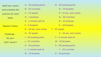 PE/Indoor Recess Warm-Up