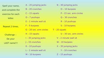 PE/Indoor Recess Warm-Up