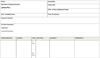 Editable PE Lesson Plan Template