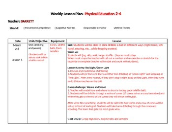 PE Lesson Plans March - May