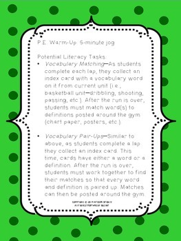P.E. Literacy Warm-Up Ideas