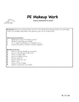 PE Make-up Work Activities