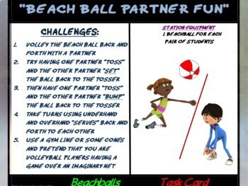 "PE Manipulative Stations and Task Cards- ""Beachballs and Balloons"""