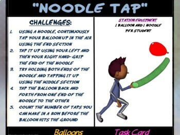 """PE Manipulative Stations and Task Cards- """"Beachballs and Balloons"""""""