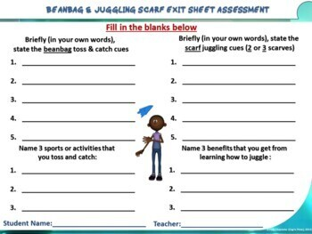 """PE Manipulative Stations and Task Cards- """"Beanbags and Juggling Scarves"""""""