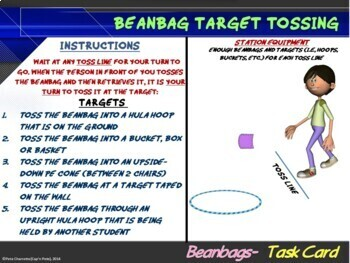 "PE Manipulative Stations and Task Cards- ""Beanbags and Juggling Scarves"""