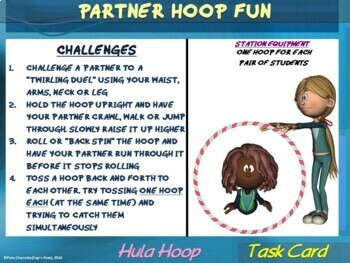 "PE Manipulative Stations and Task Cards- ""Hula Hoops and Pool Noodles"""