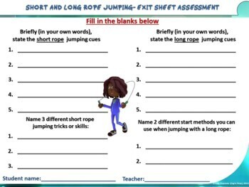 """PE Manipulative Stations and Task Cards- """"Short and Long Jump Ropes"""""""