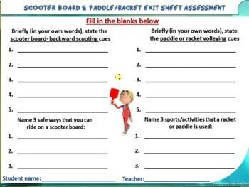 """PE Manipulative Stations and Task Cards- """"Scooter Boards and Paddles/Rackets"""""""