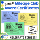 PE Mileage Club Editable Awards Certificate