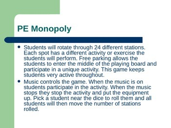 PE Monopoly (Game & Station Cards)