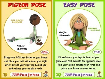 pe movement challenge cards  24 yoga poses includes