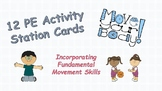 PE Physical Education Activity Station Glance Cards x12