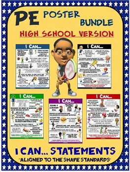 PE Poster Bundle: I Can Statements; High School Version- 5