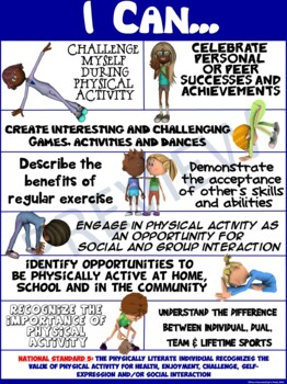 """PE Poster: """"I Can"""" Statements- Standard 5: Seeing the Value of Physical Activity"""