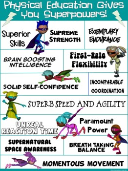 PE Poster: Physical Education Gives You Super Powers!