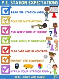 PE Poster: Station Expectations- Elementary School Version