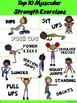 PE Poster: Top 10 Muscular Strength and Power Exercises