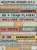 PE Poster: WORDS MATTER- Accepting Others in P.E. Visual