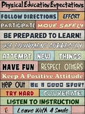 PE Poster: WORDS MATTER- Physical Education Expectations Visual