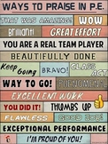 PE Poster: WORDS MATTER- Ways to Praise in P.E. Visual
