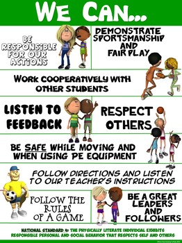"PE Poster: ""We Can"" Statements- Standard 4: Personal and Social Behavior"