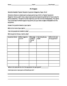 PE Project/Handout for Non-participants