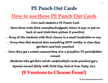 PE Punch Out Cards