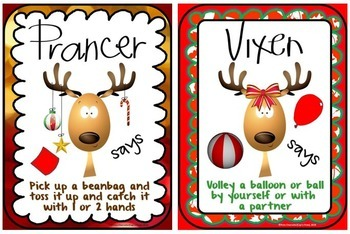 PE Reindeer Instant Activities- 20 Christmas Movement Signs