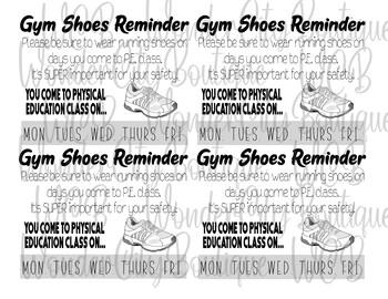 PE Shoe Reminder Note