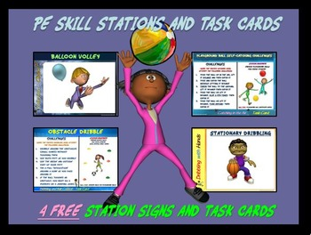 """PE Skill Stations and Task Cards! - """"4 Free Station Signs"""