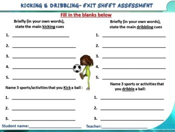 "PE Skill Stations and Task Cards- ""Kicking and Foot Dribbling"""
