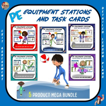 "PE Manipulative Stations and Task Cards- ""Mega Bundle"""
