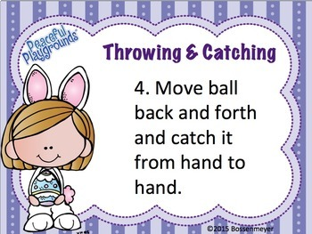 PE Station Cards: Throwing & Catching Easter Theme