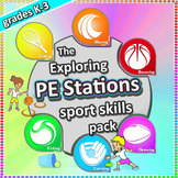 PE Stations & Activities: Lessons & cards for PE & Sport Skills Grades K-3