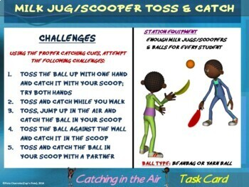 """PE Skill Stations and Task Cards- """"Catching and Fielding"""""""