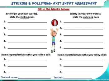 """PE Skill Stations and Task Cards- """"Striking and Volleying"""""""