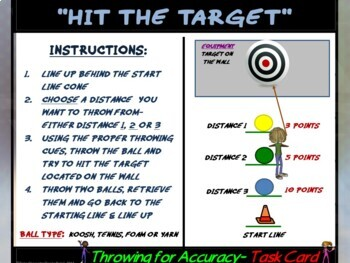 "PE Skill Stations and Task Cards- ""Throwing and Tossing"""