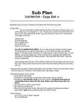 PE Sub Plan - Gaga Ball, Floor Square, Air Pong, and more